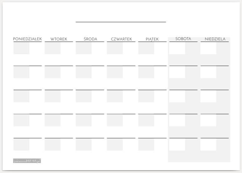 Kalendarze dla dzieci - Planner misięczny