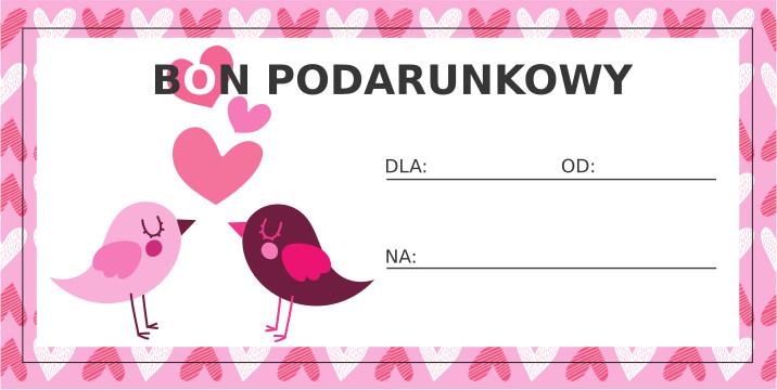 Walentynkowy bon podarunkowy - Ptaszki