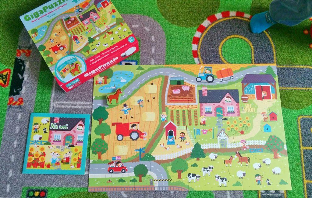 """Giga Puzzle """"Na wsi"""" z serii little planet od Trefl co zawiera"""