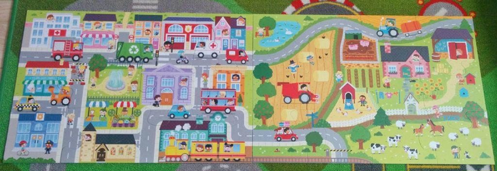 """Giga Puzzle """"Na wsi"""" i """"W miasteczku"""" z serii little planet od Trefl połączone"""