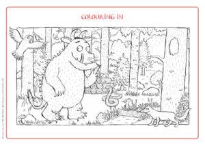 Pomysły na zabawy do książki Gruffalo kolorowanka