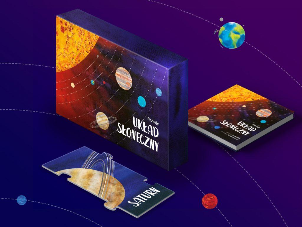 """Zestaw kosmiczne puzzle i książka """"Poznaję Układ Słoneczny"""""""